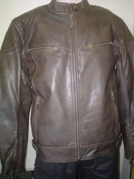 48da95b1f Male Leather Motorcycle Jacket Dingo (Antique Brown) With Armor