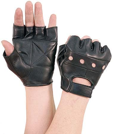Fingerless Leather Gloves - Leather Image